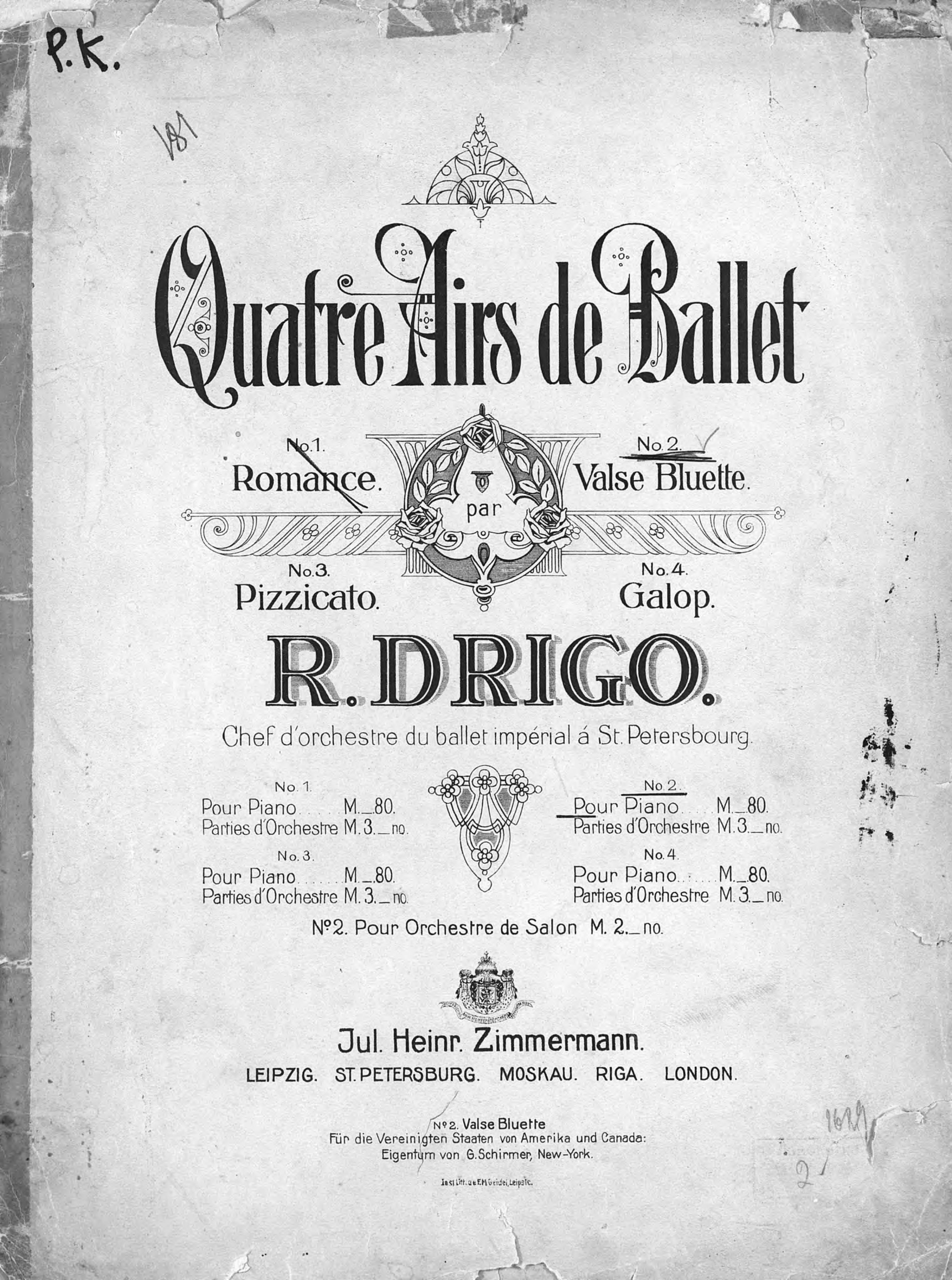 Рикардо Эудженио Дриго Valse-Bluette pour Piano цена