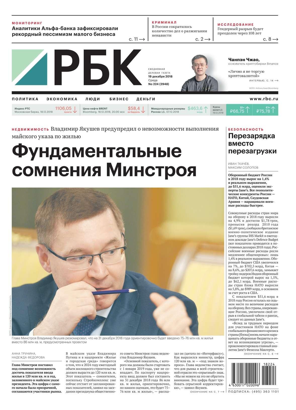 Ежедневная Деловая Газета Рбк 224-2018