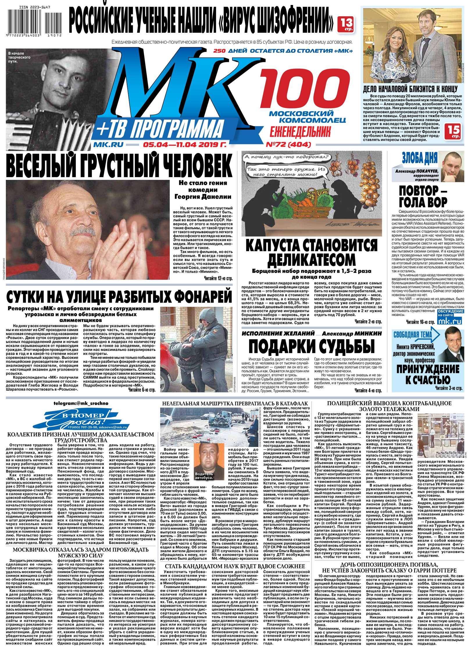 Редакция газеты МК Московский Комсомолец МК Московский Комсомолец 72-2019 цена в Москве и Питере
