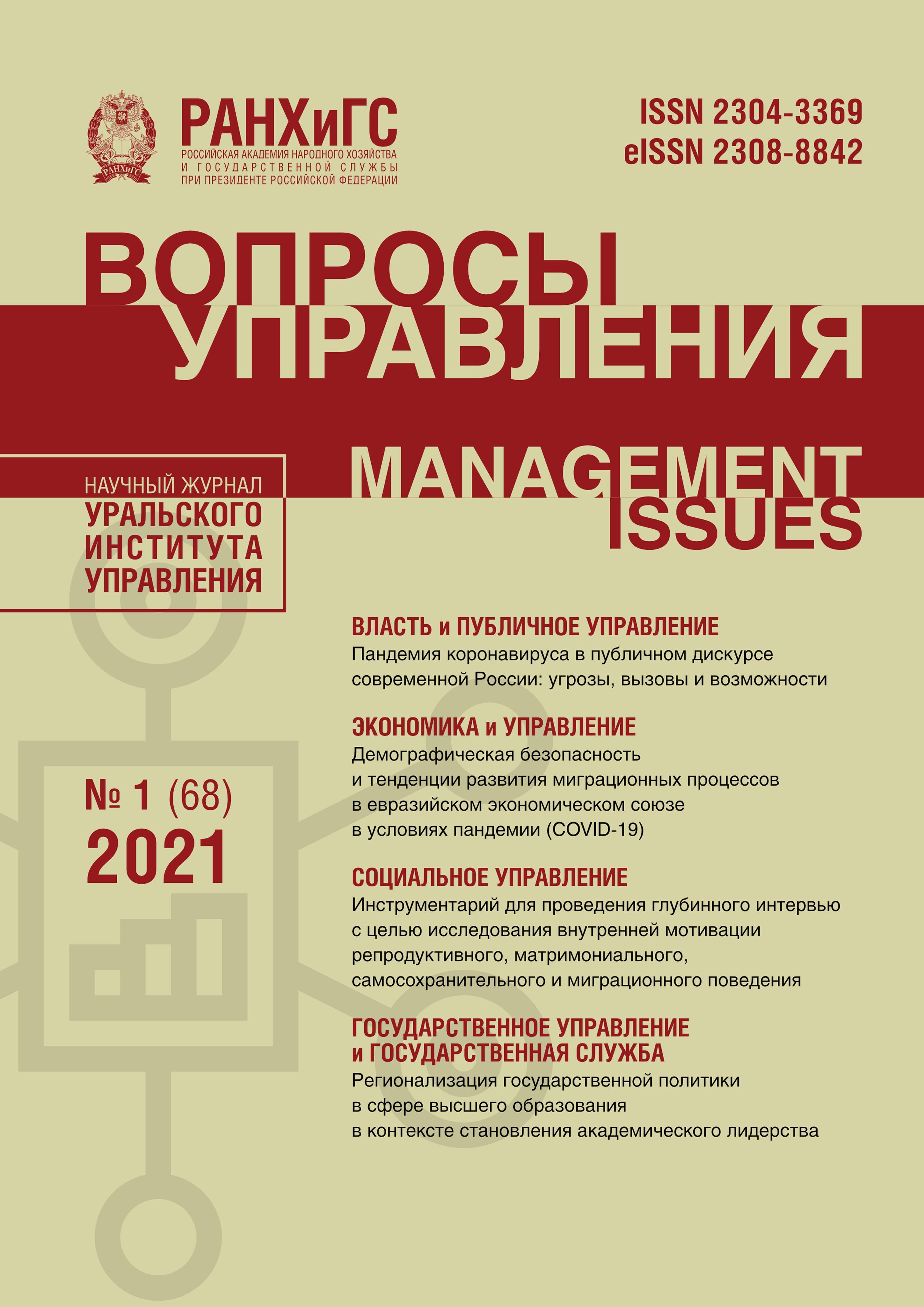 Вопросы управления №1 (68) 2021